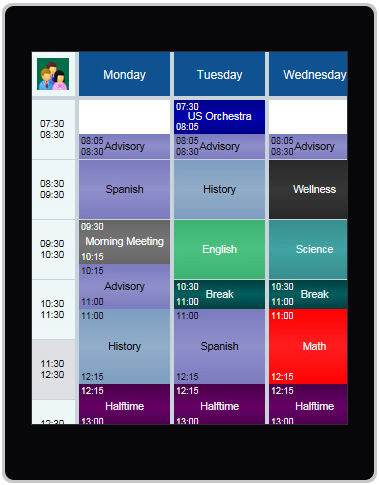 K-9 school schedule example on tablet